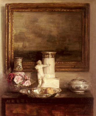 Holsoe Carl Still Life With Classical Column And Statue