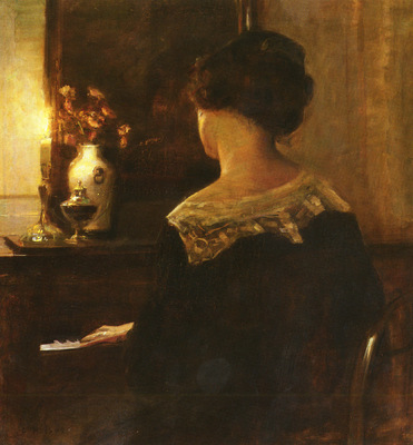 Holsoe Carl Vilhelm Danish 1863 to 1935 A Lady Playing The Piano O C 76 8 by 73cm