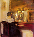 Holsoe Carl Vilhelm A Lady Playing The Spinet