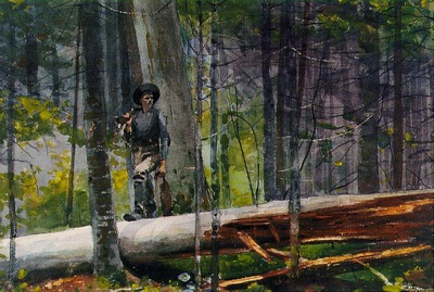 Homer Hunter in Adirondacks, 1892, Watercolor over graphite,