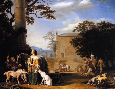 Hondius Abraham A hunting party with falcon Sun