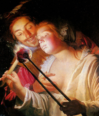 Honthorst van Gerard Soldier and girl Sun