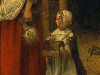 hooch,de woman and child in a courtyard, 1658 1660, detalj