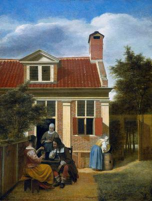 Hooch de Pieter Company in garden Sun