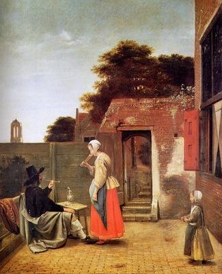 Hooch de Pieter Man smoking in garden Sun
