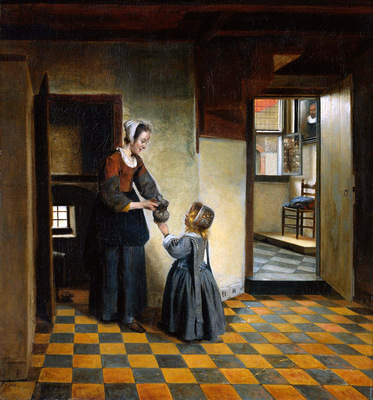 Hooch de Pieter Woman and child Sun