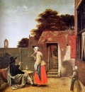 Hooch de Pieter Man smoking in garden Sun