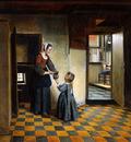 Hooch de Pieter Woman and child Sun