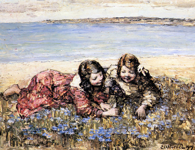 Hornel Edward Atkinson Gathering Flowers By The Seashore