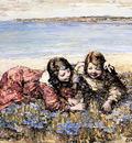 Hornel Edward Atkinson Gathering Flowers By The Seashore
