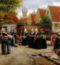 Houben Henri The fish market Sun