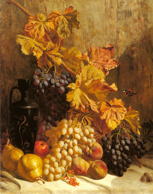 Hughes William A Still Life With Grapes Pears Peaches An Urn