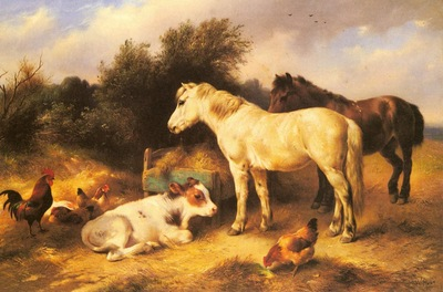 Hunt Walter Ponies A Calf And Poultry In A Farmyard
