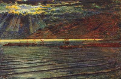 Hunt William Holman Fishingboats by Moonlight