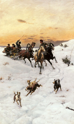 Kleczynski Bodhan Von Figures In A Horse Drawn Sleigh In A Winter Landscape