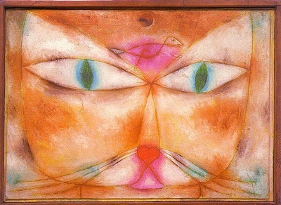 Klee Cat and Bird, 1928, oil and ink on gessoed canvas mount