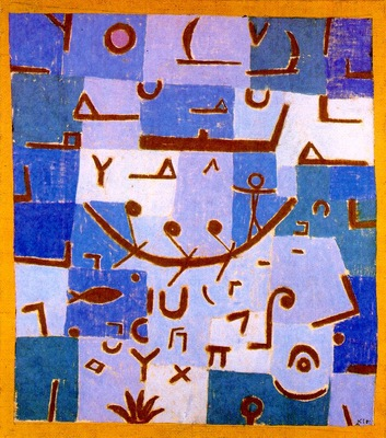 Klee Legend of the Nile,1937, Pastel on cotton cloth mounted