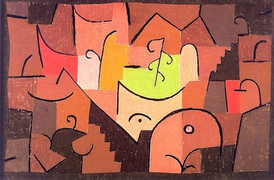 Klee Stage Landscape, 1937, pastel on cotton cloth mounted o