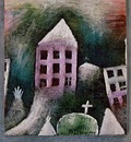 Klee Destroyed place, 1920, Oil on paper mounted on gray blu