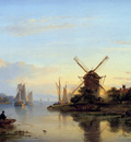 Kleyn Lodewijk River view with mill Sun