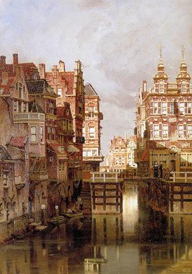 Klinkenberg J The Oudezijds Kolk in Amsterdam Sun