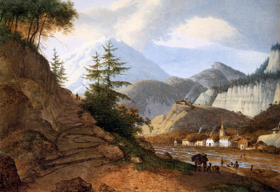 Knip Josephus Mountainous landscape with village and ford Su