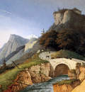 Knip Josephus Mountainous landscape with bridge over stream