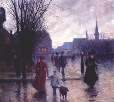 koehler rainy evening on hennepin avenue c1910