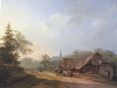 A Cart on a Country Road in Summertime