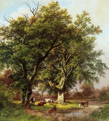 Koekkoek Barend C Beech in front of castle Moyland Sun
