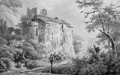 Koekkoek Barend C Castle in mountainous landscape Sun