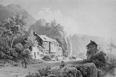 Koekkoek Barend C Country road in mountainous landscape Sun