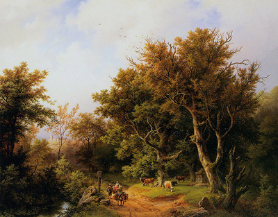 Koekkoek Barend C Forest landscape with cattle Sun