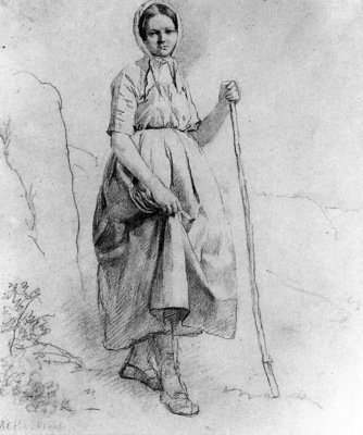 Koekkoek Barend Cornelis Woman standing Sun