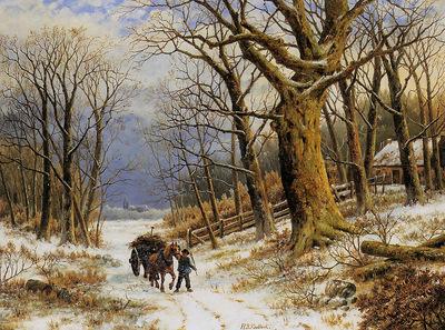 Koekkoek Barend H Winter landscape Sun