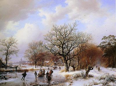Koekoek Cornelis Barend A winterlandscape Sun