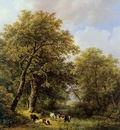Koekkoek Barend C Shepherd with cows Sun