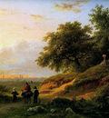Koekkoek Barend Cornelis People on a countryroad at dusk Sun