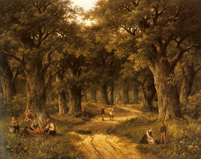Koekkoek Hendrik Barend Peasants Preparing A Meal Near A Wooded Path