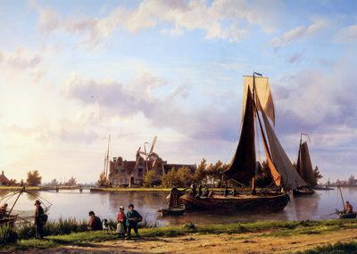 Koekkoek Hermanus Ship sailing through canal Sun