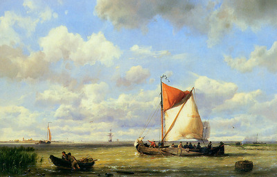 Koekkoek Hermanus jr Sailing boats with light breeze Sun
