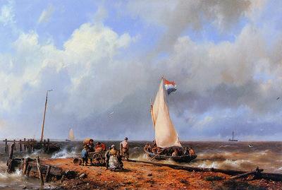 Koekkoek Hermanus sr Coast with folk and boat Sun
