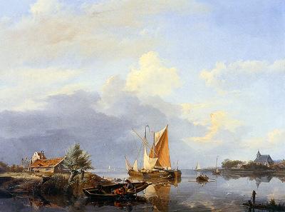 Koekkoek Hermanus sr Dutch river landscape Sun