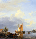 Koekkoek Hermanus sr Dutch river landscape Sun