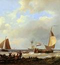 Koekkoek Hermanus sr Ships at harbours estuary Sun