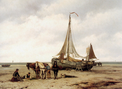 Koekkoek Jan Beachview with ships Sun