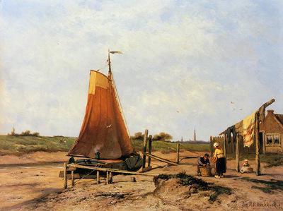 Koekkoek Jan H Ships on dried ground Veere Sun