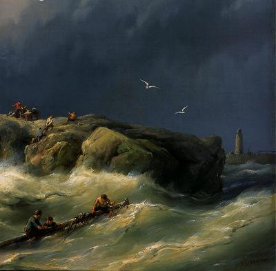 Koekkoek Jan Shipwreck for the coast detail 1 Sun