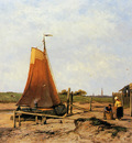 Koekkoek Jan H Ships on dried ground Veere Sun