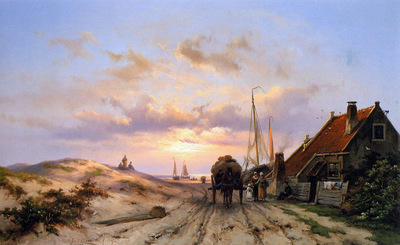 Koekkoek Johannes Fisherwomen at a house in dunes Sun